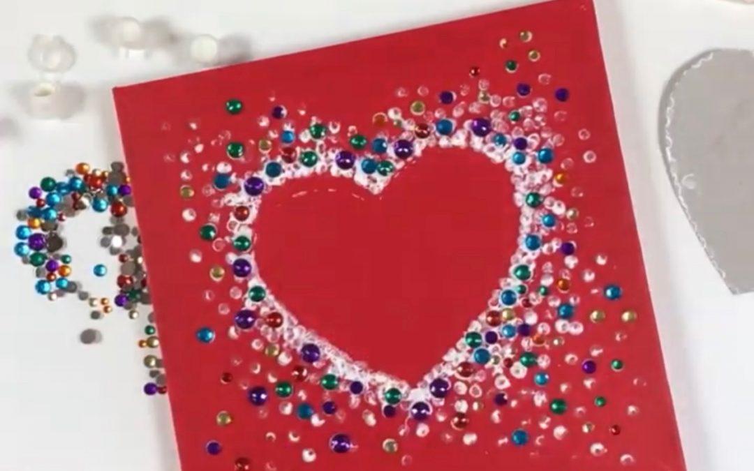 Valentine's Heart DIY on Bright Red Canvas